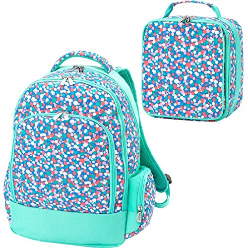 ua 2 Piece Polyester Zippered Backpack & Lunch Box Bag Set (Two Zippered Main Pockets)