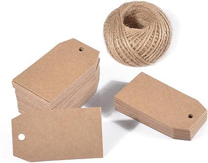 100 etichette regalo in carta kraft con spago di iuta naturale da 100 m per matrimoni e decorazioni rettangolari