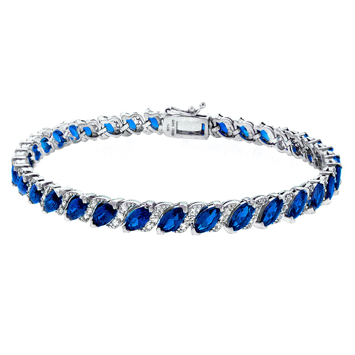 GemStar USA Sterling Silver Created Blue Sapphire Marquise-Cut Tennis Bracelet with White Topaz Accents