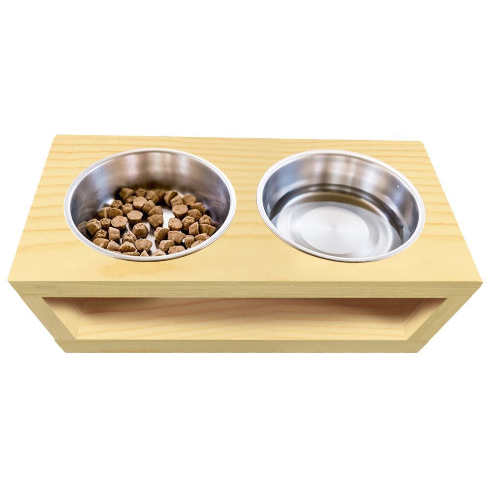 UNFINISHED Solid pine wood Elevated Dog and Cat Pet Feeder, Triple Bowl Raised Stand (3 quart), 3/4'' thick, 36'' x 12'' x 14'' Tall