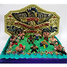 WWE Wrestler Rumblers Wrestling Birthday Cake Topper Set Featuring 8 RANDOM WWE Rumbler Figures and Unique Wrestling Championship Belt Cake Decorative Piece