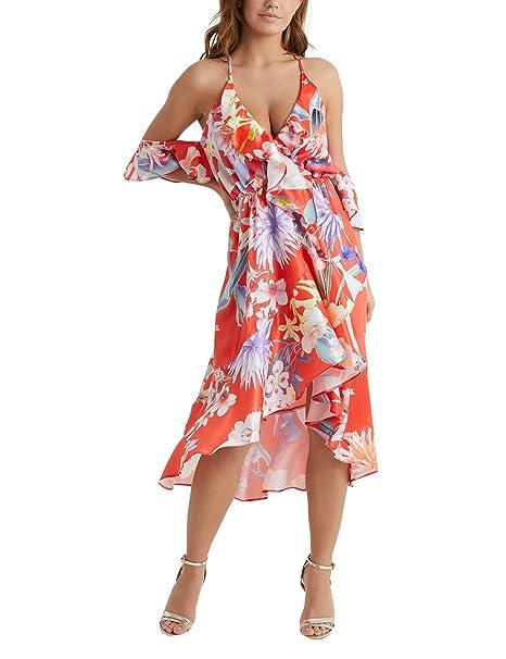 Lipsy Mujers Vestido A Media Pierna Escote Pronunciado Estampado De Flores Y Hombros Descubiertos Amy Naranja