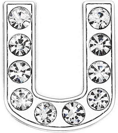 ZHU YU CHUN 50pcs Full Rhinestones 8mm Slide Alphabet Letters U for DIY Slide Wristbands Bracelets,Jewelry Making Charms, Silver U