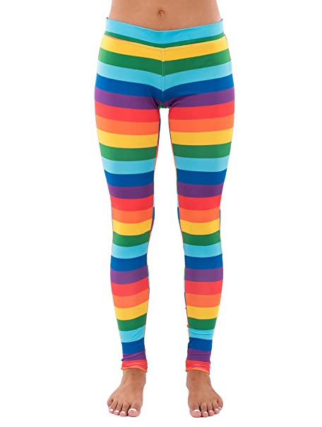 eec7d8577675ea Striped Rainbow Leggings - Neon Rainbow Tights for Women at Amazon ...