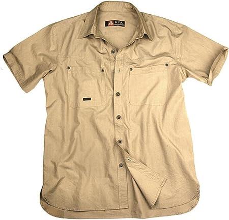 Ligero Outdoor Señor Camisa En Beige y Verde, camiseta de ...