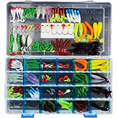 145 pieces lead hook soft bait set, including 52 pcs soft maggot, 53 pcs simulation soft bait, 40 pcs lead hook and 1 clear tackle box.Please Note: Colors will be sent by random, but have not impact with the quality and quantity.