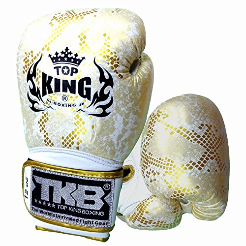 TOPKING ボクシンググローブ 本革製 スネーク ゴールド/白い  16oz