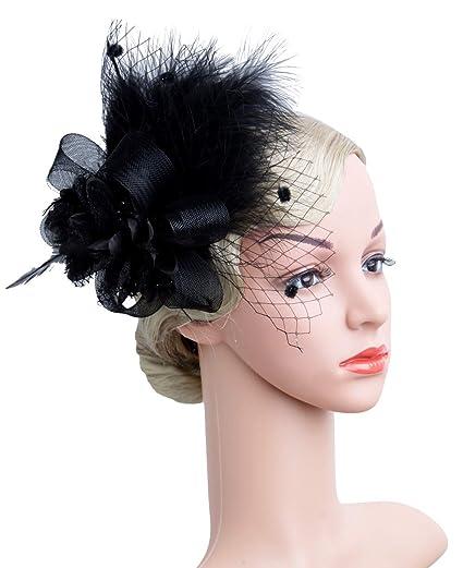 855300b164598 Women s Fascinators Hat Hair Clip Feather Wedding Headware Bridal 1920s  Headpiece(1-A-