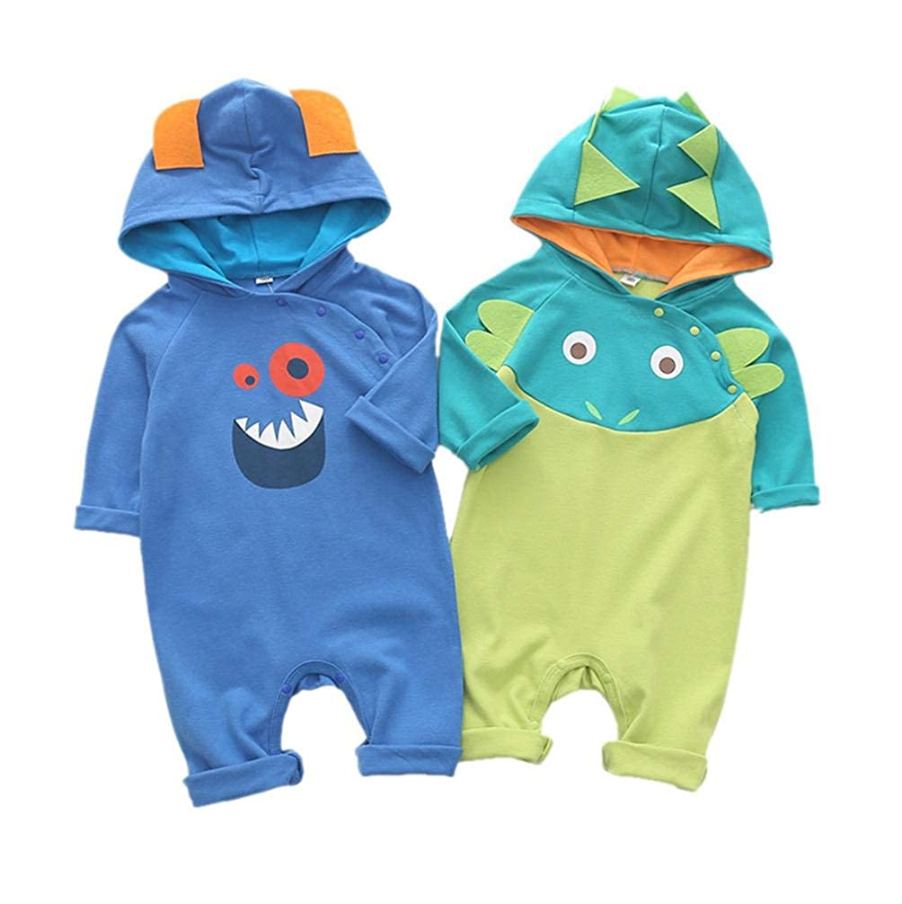 kaiCran Baby Dinosaur Romper,Cute Baby Boy Long Sleeve Cartoon Dinosaur Hooded Romper Jumpsuit Outfits Clothes