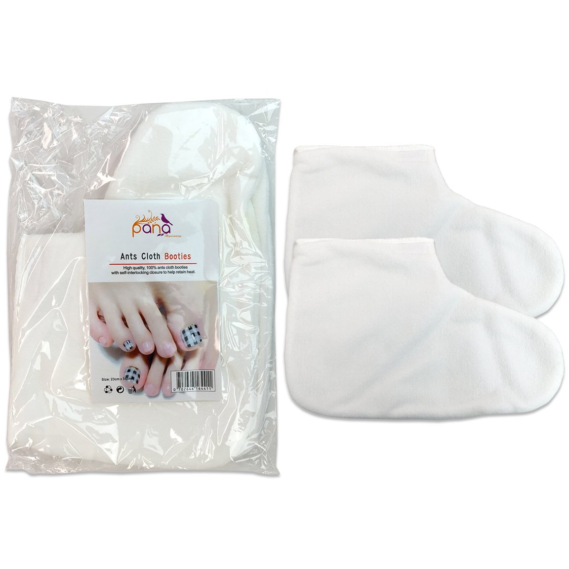 Pana Brand ReusableWHITE Thermal Cloth Insulated Booties for Paraffin Wax Heat Therapy Spa Treatments/Self Tanning