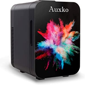 AUXKO Personal Black Mini Fridge 10 Liter/11 Can Portable Small Desk Refrigerator, Compact Cooler and Warmer for Bedroom, Dorm, Office, Nursery, Car, Travel, Food, Drink (Burst Colorful)