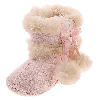 Generic lazo bebé zapatos botas con bola de peluche Rosa Talla:13 cm