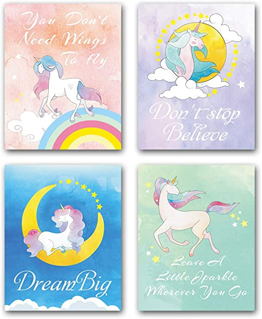 Believe Unicorn Rainbow Quote Dinner Table Placemat