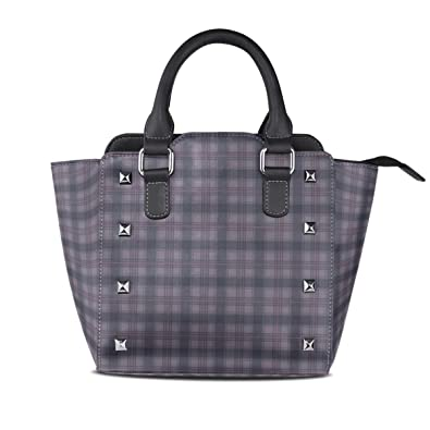 Image Unavailable. Image not available for. Color  Handbags Scottish Plaids  Purple Womens Genuine Leather ... 52aa74988f071