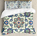 Arabian Duvet Cover Set by Ambesonne, Colorful Flower Shape Romantic Decoration Element Eastern Ethnic Art Print, 3 Piece Bedding Set with Pillow Shams, King Size, Cream Reseda Green