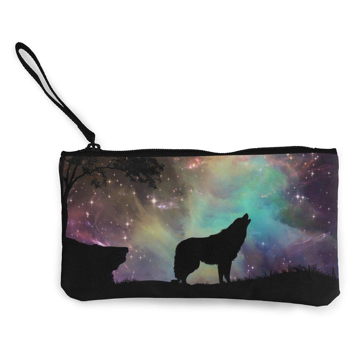 Womens Vintage Purse Howling Wolves In The Middle Of The Night Canvas Makeup Bag With Zipper For Women