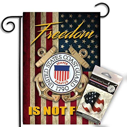 Brotherhood United States Coast Guard Freedom Isn't Free Garden Flag w Absorbent Car Coaster - Coast Guard Car Flag
