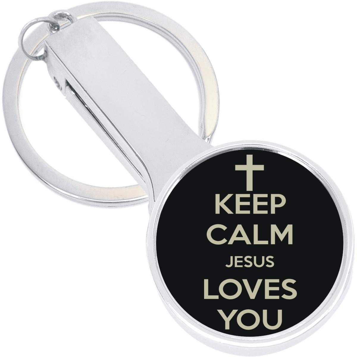 Keep Calm Jesus Loves You Purse Hanger with Keychain