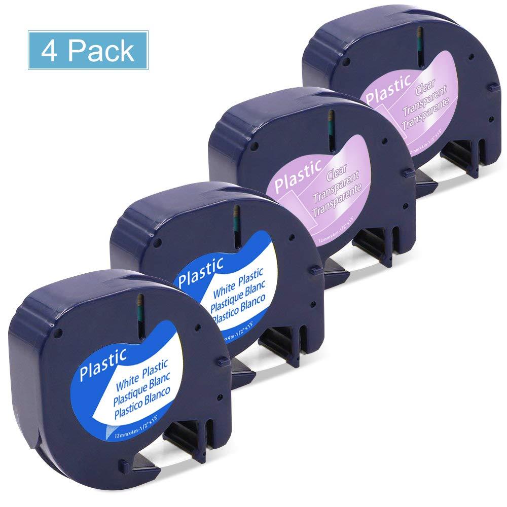10x Etiqueeta Cinta de Etiqueeta 10x para Dymo LetraTag Papel Label Tape 91200 S0721510 12mm x 4m rollo Negro sobre Blanco Compatible con Dymo Letra Tag LT-100H LT-100T LT-110T QX 50 XR XM 2000 Plus Label Maker e1fd78