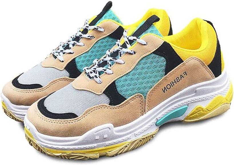 Licy Life-UK Mujers Chunky Zapatillas de Deportivo Sneakers Running Cordones Zapatos para Correr Malla Calzado Atletismo, Alta Talón Plataforma Fitness Casual Invierno Otoño(35EU-40EU): Amazon.es: Zapatos y complementos