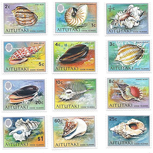Aitutaki (Cook Islands) 1974 Postage Stamp Set (1) Seashells 12 Stamp Set MNH 1/2 Cent to 1 Dollar