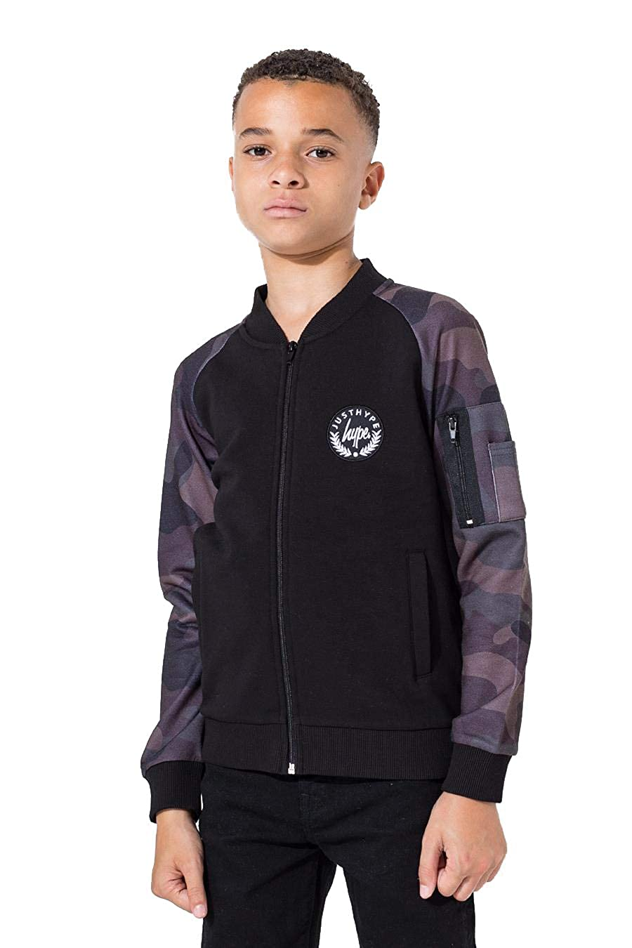 Hype Black Camo Crest Kids Bomber Jacket