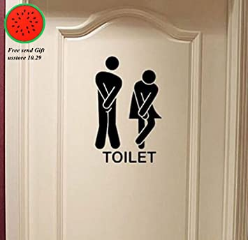 Removable Cute Man Woman Washroom Toilet WC Wall Sticker Family DIY Decor Art  Stickers Home Decor Part 87