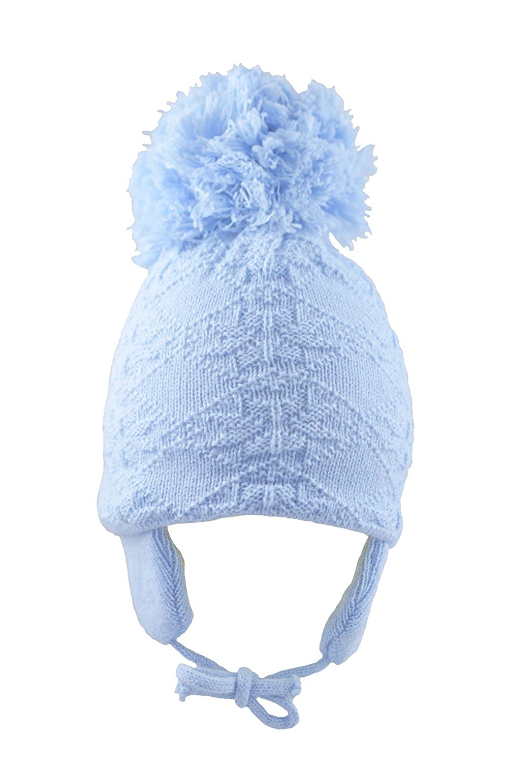 a23d0fc00 Pesci Baby Girls Boys Pom Pom Hat with Ear Flaps and Chin Ties Winter  Knitted Snowflake