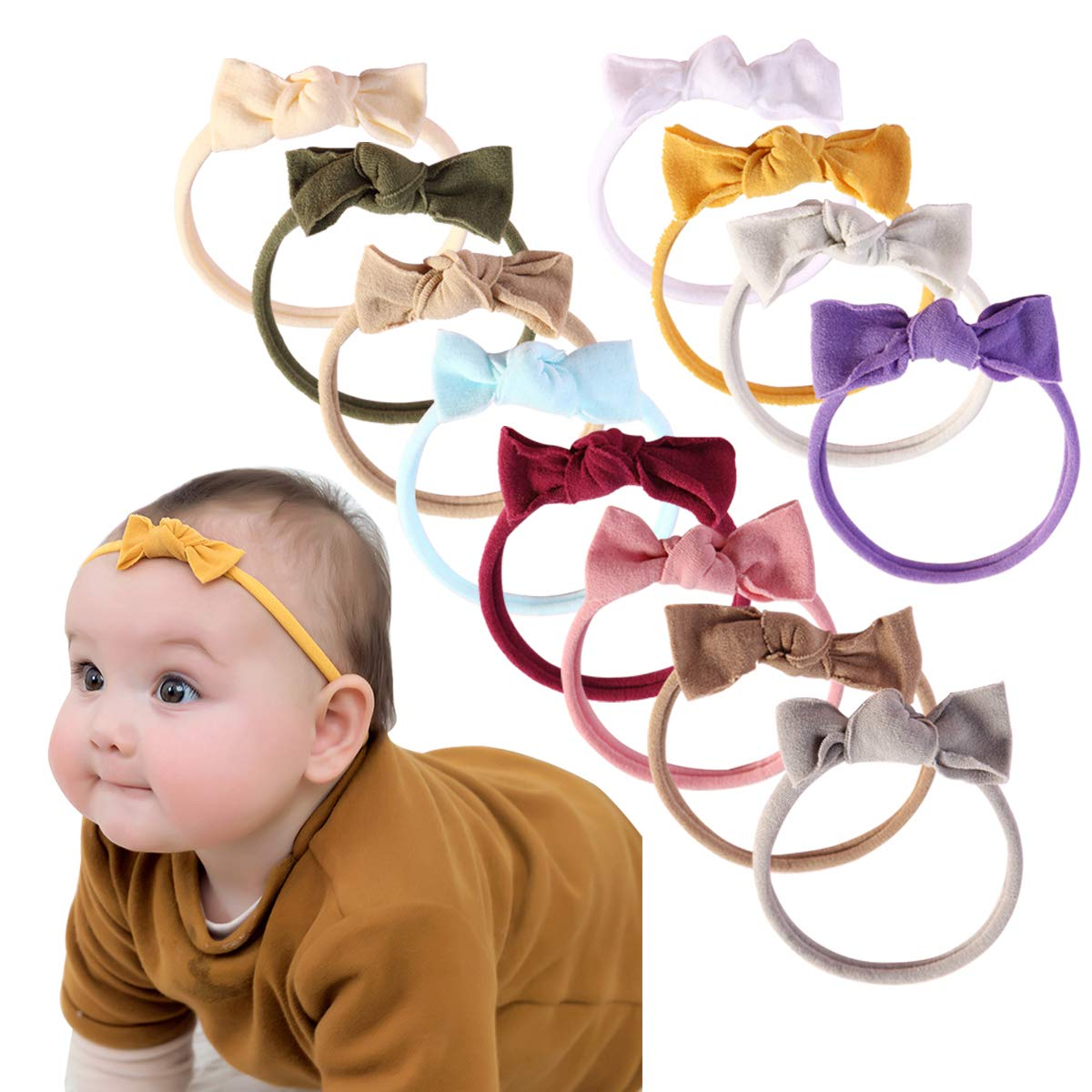 Baby Girl Headbands and Bows Classic Knot Nylon Headwrap Super Soft Stretchy Nylon Hair bands for Newborn Toddler, Children (AP12) by Mookiraer