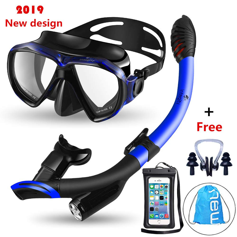 integity Snorkel Set, Anti-Fog Snorkel Mask Impact Resistant Panoramic Tempered Glass,Innovative Water-Air Separated Anti-Leak Dry Snorkel Set,Free Breathing Diving Mask Adjustable Straps Youth Adult by integity