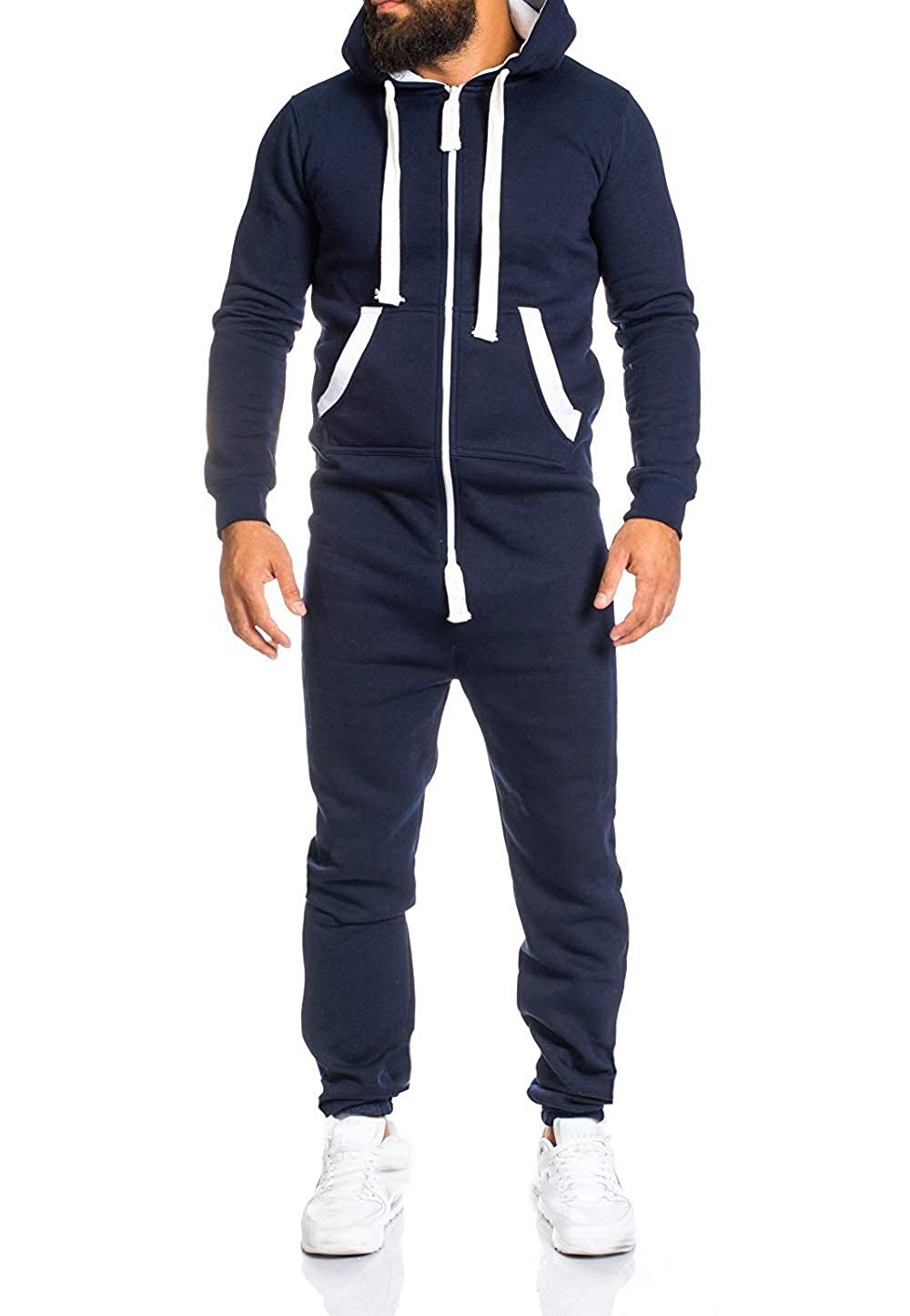 Mens Long Sleeve Overall Jumpsuit Hoodies Zipper One Piece Tracksuit All in one