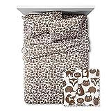 Pillowfort Forest Friends Animal Pattern 4 Piece Sheet Set Full - Brown /white/