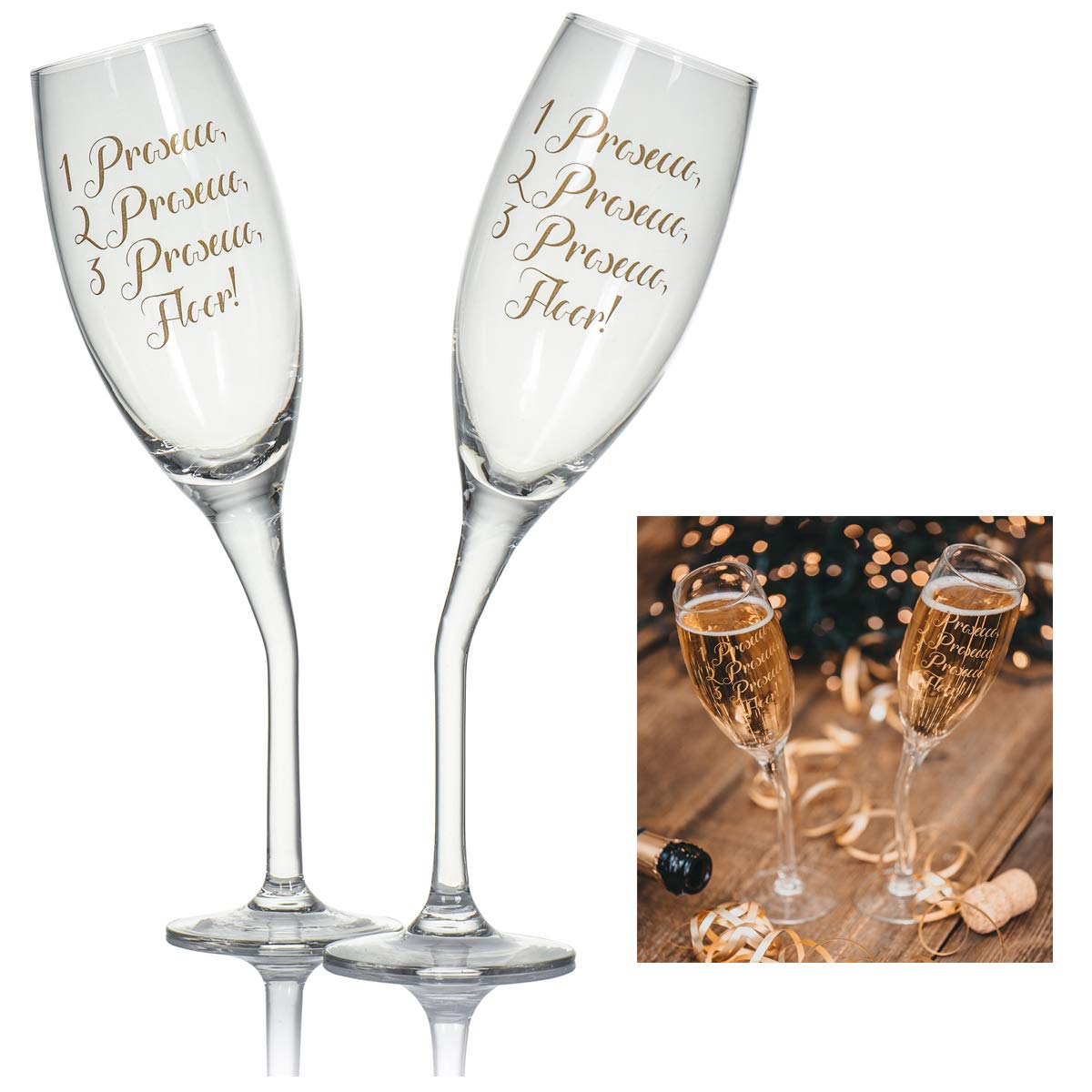 Set of 3 Prosecco STEMLESS Flutes Wine Glass Gift Clear Champagne Gold Design
