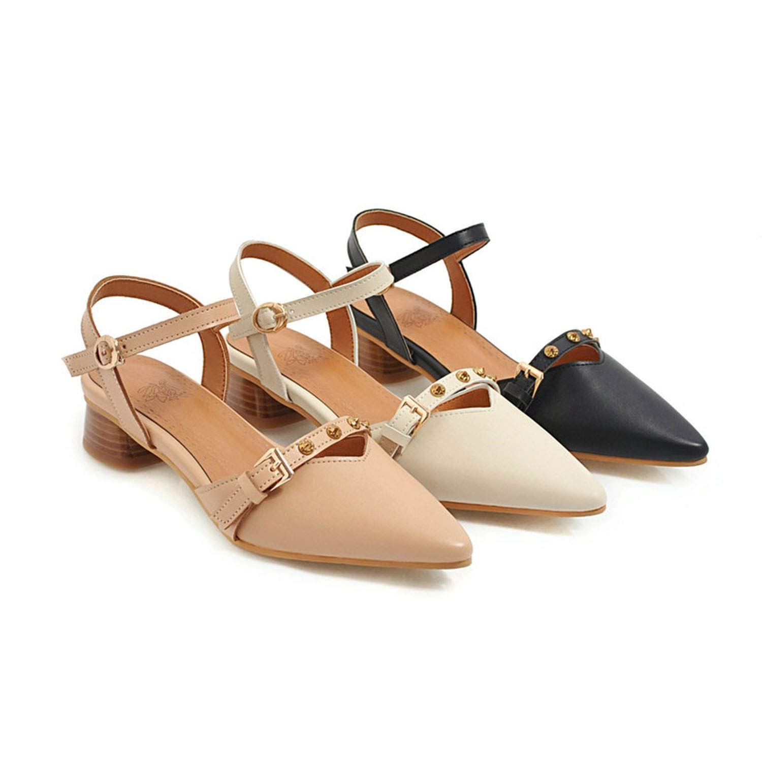 Summer Shoes Women Sandals Buckle Pointed Toe Square Heels Shoes Lady Rivet Shoes Big Size 48