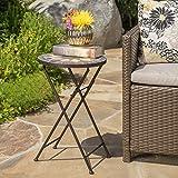Sandor Outdoor Beige Black Stone Side Table Iron Frame