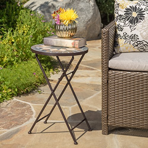Sandor Outdoor Beige and Black Stone Side Table with Iron Frame (Outdoor Side Table Mosaic)