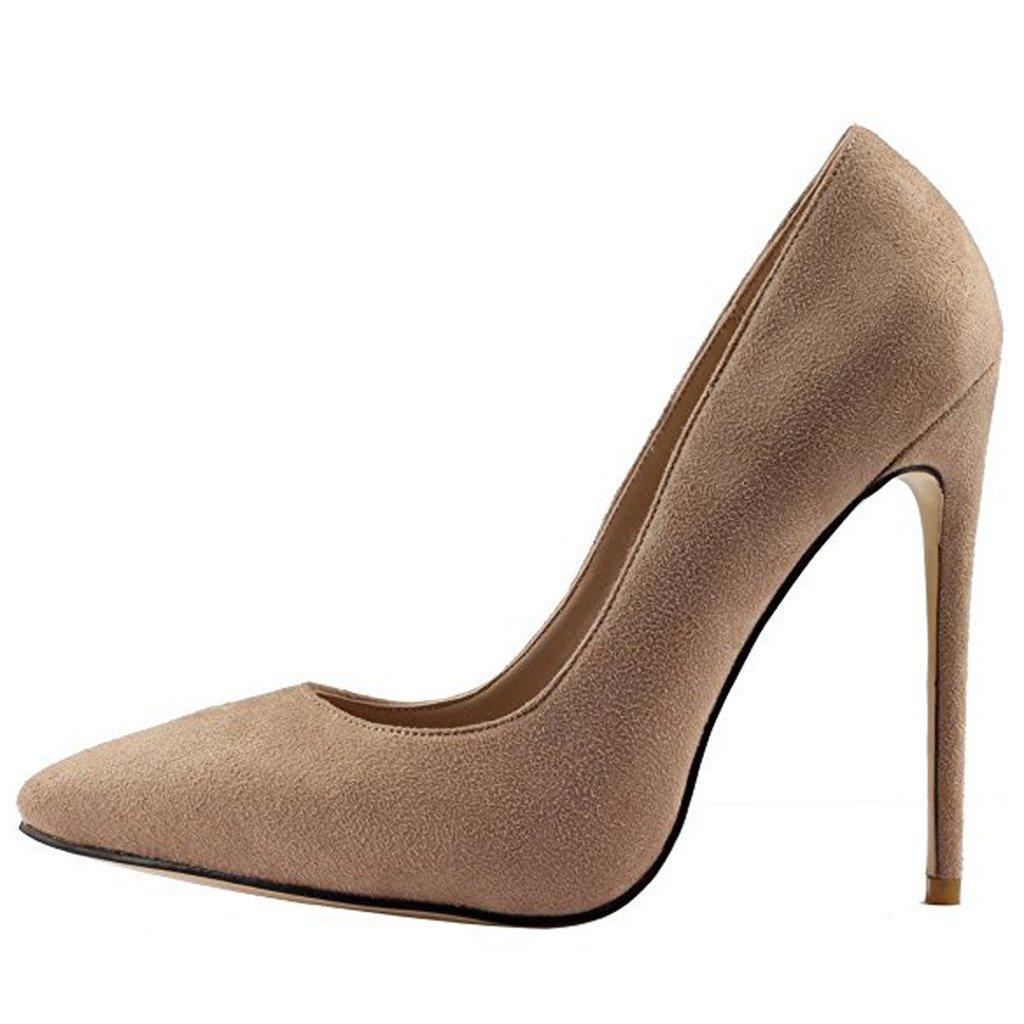 Jushee Damen Sexy Klassische Schwarz Stiletto High Heels Kleid Buuml;ro Pumps42 EU|Beige