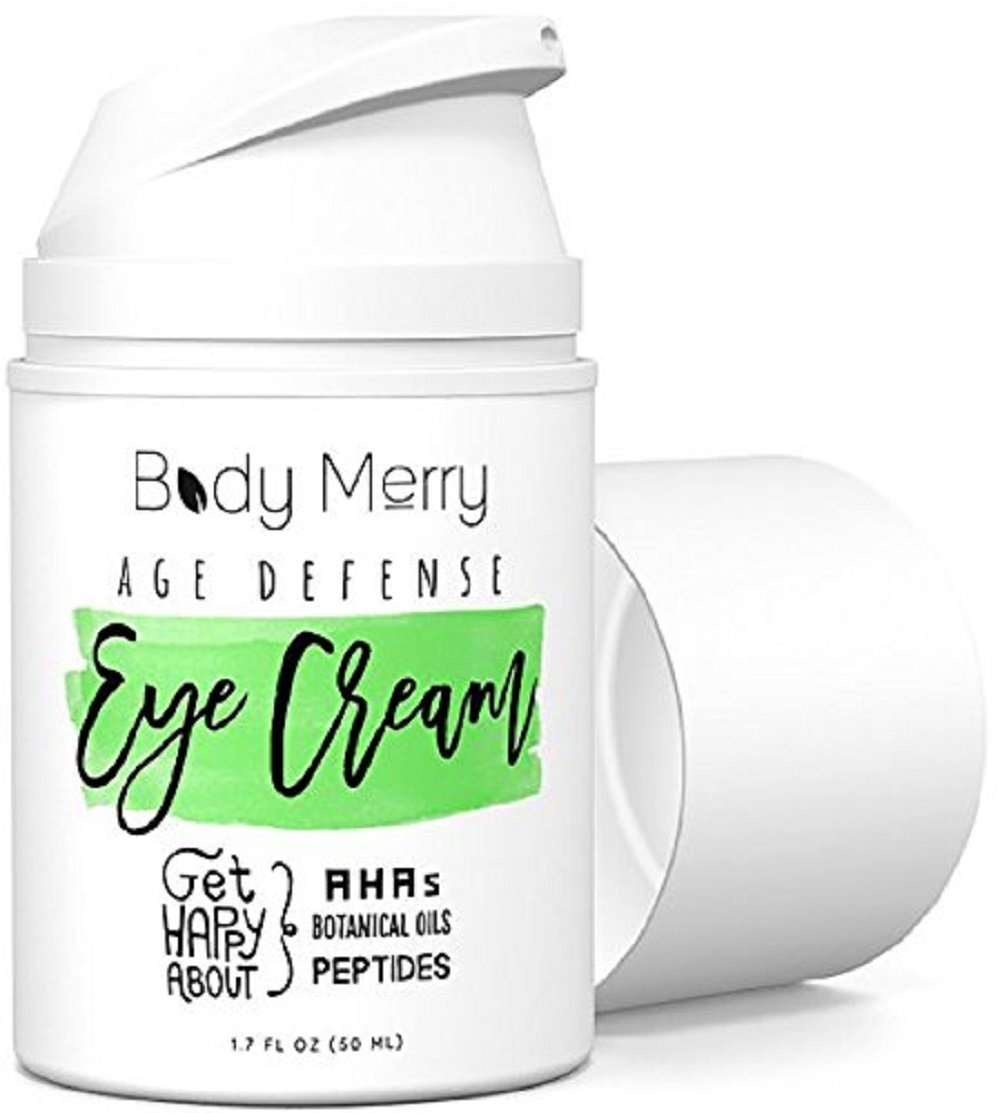 Body Merry Age Defense Eye Cream - Undereye Treatment for Dark Circles, Wrinkles, Puffiness, Crow's Feet, & Bags w Natural Hyaluronic Acid + Squalane + Peptides + Botanical Oils