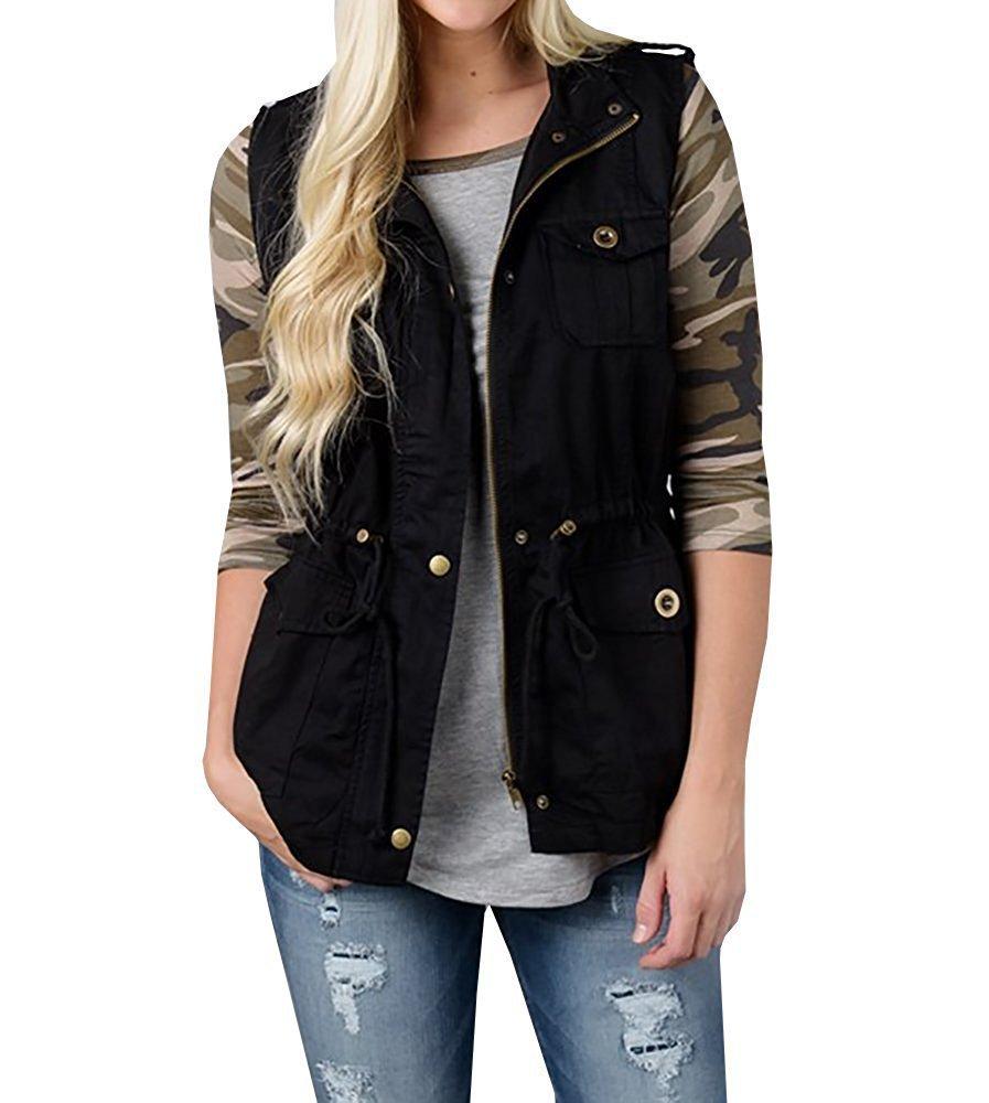 YeeATZ Womens Lightweight Sleeveless Zipper Military Anorak Drawstring Vest Jacket Black XL