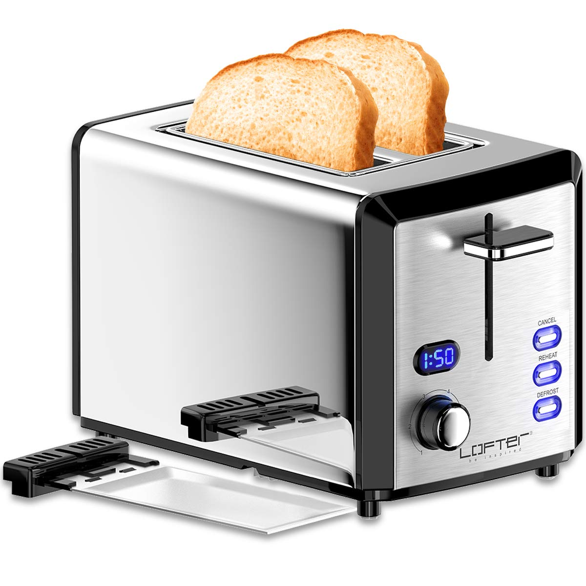 2 Slice Toaster, LOFTER Mirror Stainless Steel Toaster Extra Wide Slots Toasters with 6 Shade Settings, Compact LED Display with Removable Crumb Tray, Defrost/Reheat/Cancel, High Lift Lever, 800W by LOFTer