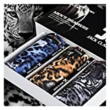 JLTPH pack of 3 Mens Boxer Briefs 3D Sexy Leopard Tiger Pattern Underwear Silk Underpants