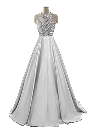 HEIMO Womens 2017 Sequins Evening Party Gowns Beading Formal Prom Dresses Long H187 - Silver -