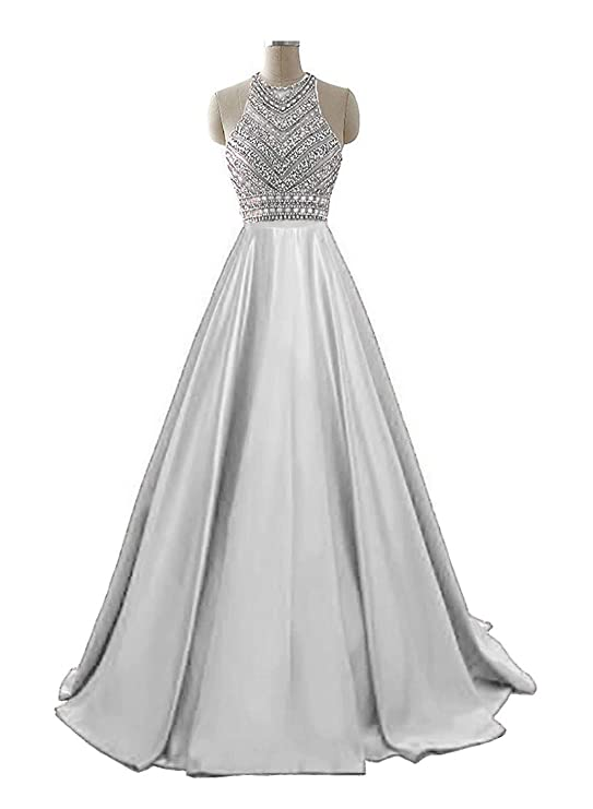 HEIMO Womens 2017 Sequins Evening Party Gowns Beading Formal Prom Dresses Long H187 - Silver -: Amazon.co.uk: Clothing