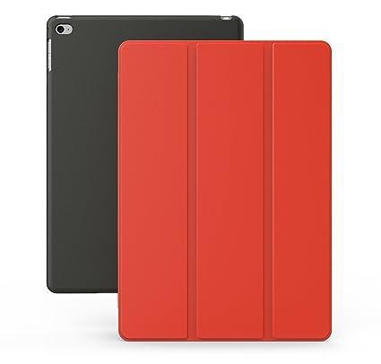 KHOMO Funda iPad Air 2 - Carcasa Roja y Negra Ultra Delgada y Ligéra con Smart Cover para Apple iPad Air 2 - Red and Black