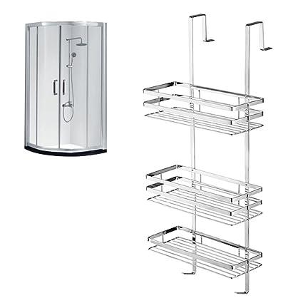 Hengmei - Gran organizador de cuarto de baño y cocina para colgar, estante de ducha, de acero inoxidable