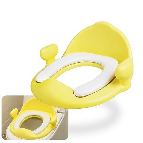 Asientos para WC, Lavmar Asientos para Inodoro con Cómodo y Suave Cojín y Asas para