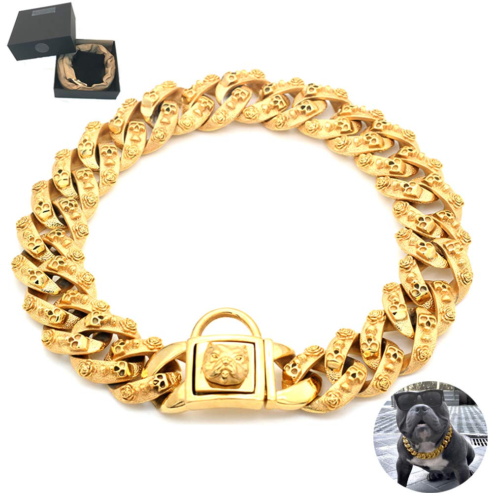 Huitao Gold Dog Chain Collar, Stainless Steel Training Collar, Heavy Duty Cuban Link Gold Plated Large Pet Dogs Necklace Choke for Bully Pitbull, Mastiff, Big Breeds (24 inches)