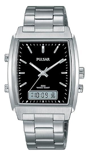 Pulsar Hombre Reloj de Pulsera analógico - Digital Cuarzo Acero Inoxidable pbk031 X 1: Amazon.es: Relojes