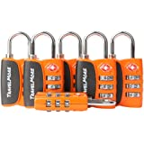 6 Pack Open Alert Indicator TSA Approved 3 Digit Luggage Locks for Travel Suitcase & Baggage (Orange)