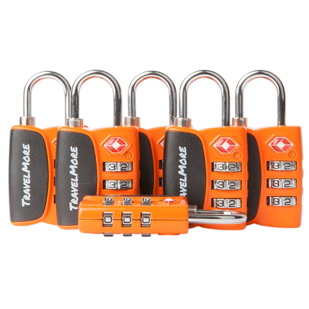 6 Pack Open Alert Indicator TSA Approved 3 Digit Luggage Locks for Travel Suitcase & Baggage (Orange) by TravelMore